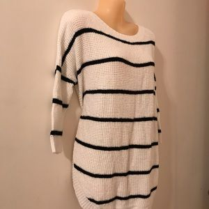 Express Black and White Striped Sweater